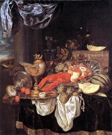 Large Still-life with Lobster, 1653 by Abraham Beyeren | Painting Reproduction