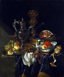 Still Life with a Silver Wine Jug, c.1660/65 by Abraham Beyeren | Painting Reproduction