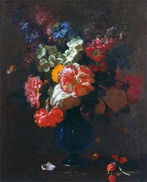 Flowers in a Vase on a Ledge, undated by Abraham Beyeren | Painting Reproduction