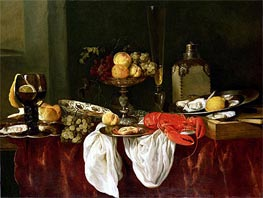Still Life with Lobster, undated by Abraham Beyeren | Painting Reproduction