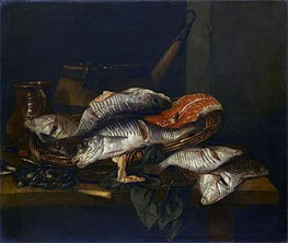 Still Life with Fish, c.1650/70 by Abraham Beyeren | Painting Reproduction