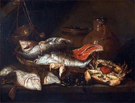 Still Life with Fish, undated by Abraham Beyeren | Painting Reproduction
