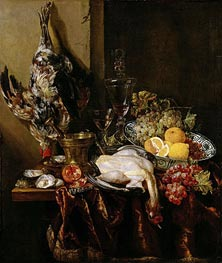 Still Life with Fowl and Fruits, c.1680 by Abraham Beyeren | Painting Reproduction