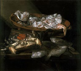 Still Life with Plaices and Crabs, c.1646/55 by Abraham Beyeren | Painting Reproduction