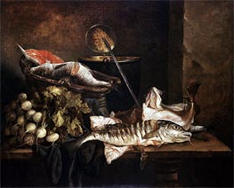 Still Life with Fish, c.1650 by Abraham Beyeren | Painting Reproduction