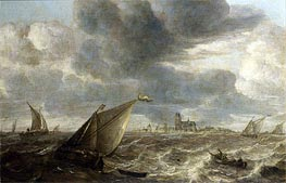 A River Landscape with Fishing Boats in a Strong Breeze Before a Town, Probably Dordrecht, undated by Abraham Beyeren | Painting Reproduction