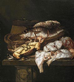 Still Life with Fish, c.1650/90 by Abraham Beyeren | Painting Reproduction