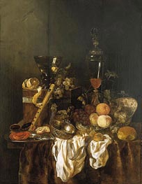 Still Life with Fruit and Sumptuous Objects, c.1655 by Abraham Beyeren | Painting Reproduction