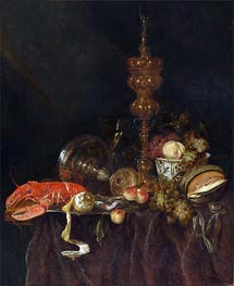 Still Life with Lobster and Fruit, c.1650/60 by Abraham Beyeren | Painting Reproduction