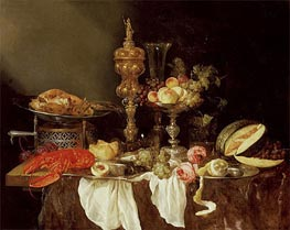 Still Life with a Lobster and Turkey, 1653 by Abraham Beyeren | Painting Reproduction