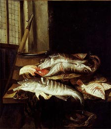 Interior with Still Life of Fish, c.1655/66 by Abraham Beyeren | Painting Reproduction