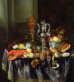 Still Life with Fruit and Shellfish, Undated by Abraham Beyeren | Painting Reproduction