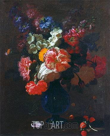 Flowers in a Vase on a Ledge, undated | Abraham Beyeren | Painting Reproduction
