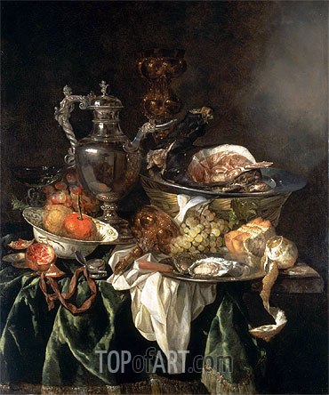 Still Life with a Silver Wine Jar with a Reflected Portrait of the Artist, undated | Abraham Beyeren | Painting Reproduction