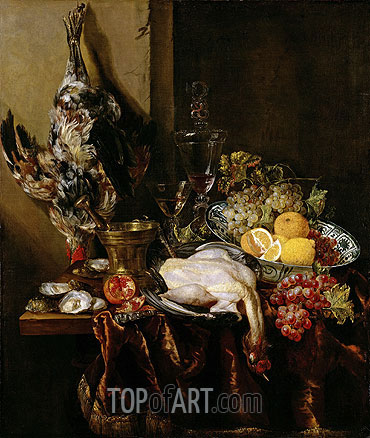 Still Life with Fowl and Fruits, c.1680 | Abraham Beyeren | Painting Reproduction