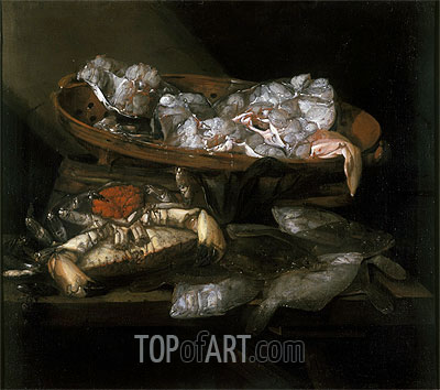 Still Life with Plaices and Crabs, c.1646/55 | Abraham Beyeren | Gemälde Reproduktion