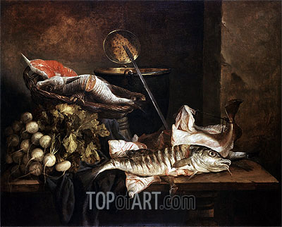 Still Life with Fish, c.1650 | Abraham Beyeren | Gemälde Reproduktion