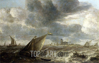 A River Landscape with Fishing Boats in a Strong Breeze Before a Town, Probably Dordrecht, undated | Abraham Beyeren | Painting Reproduction