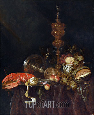 Still Life with Lobster and Fruit, c.1650/60 | Abraham Beyeren | Painting Reproduction