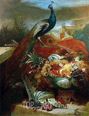 Still Life with Peacock and Fruits in Chinese Bowl, undated | Abraham Beyeren | Gemälde Reproduktion