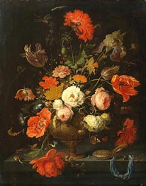 Still Life with Flowers and Watch, c.1664/79 von Abraham Mignon | Gemälde-Reproduktion