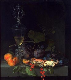 Still Life with Crabs on a Pewter Plate, c.1669/72 von Abraham Mignon | Gemälde-Reproduktion