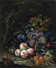 Still Life with Fruits, Foliage and Insects, c.1669 by Abraham Mignon | Painting Reproduction