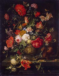 Vase of Flowers, b.1797 by Abraham Mignon | Painting Reproduction