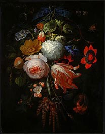 A Hanging Bouquet of Flowers, c.1665/70 by Abraham Mignon | Painting Reproduction