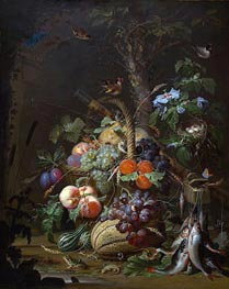 Still Life with Fruit, Fish and a Nest, c.1675 von Abraham Mignon | Gemälde-Reproduktion