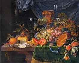Still Life with Fruit and Oysters | Abraham Mignon | Painting Reproduction
