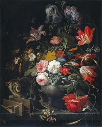 Still Life with Flowers, Cat and Mousetrap | Abraham Mignon | Painting Reproduction