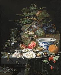 Still Life with Fruit, Oysters and Porcelain Bowl | Abraham Mignon | Painting Reproduction