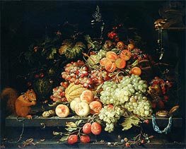 Still Life with Fruit, Squirrel and Goldfinch | Abraham Mignon | Painting Reproduction