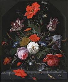 Flowers in a Glass Vase on a Ledge | Abraham Mignon | Painting Reproduction