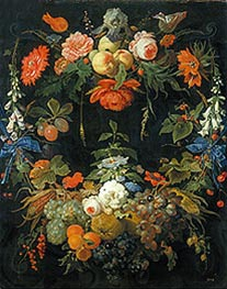 A Floral Wreath and Fruits, undated von Abraham Mignon | Gemälde-Reproduktion