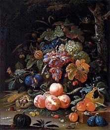 Still Life with Fruits, undated by Abraham Mignon | Painting Reproduction