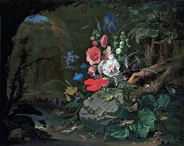 Flowers and Animals in a Casemate | Abraham Mignon | Painting Reproduction