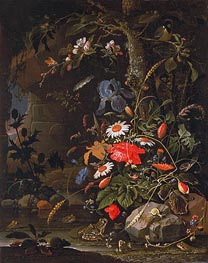 Woodland Still Life, undated by Abraham Mignon | Painting Reproduction
