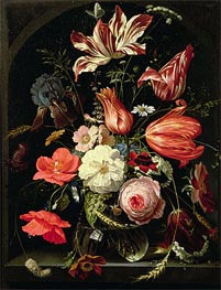 Still Life of Flowers on a Ledge, undated von Abraham Mignon | Gemälde-Reproduktion