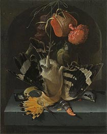 Still Life with a Hoopoe, undated by Abraham Mignon | Painting Reproduction