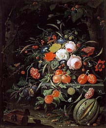 Still Life with Flowers and Fruit | Abraham Mignon | Painting Reproduction