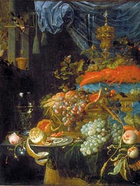 Still Life with Fruit and a Goldfinch, 1679 by Abraham Mignon | Painting Reproduction