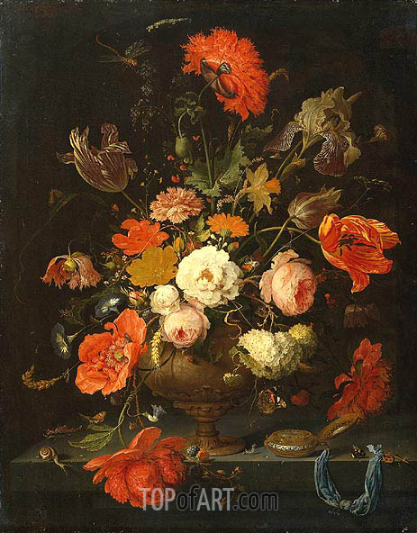 Still Life with Flowers and Watch, c.1664/79 | Abraham Mignon | Gemälde Reproduktion