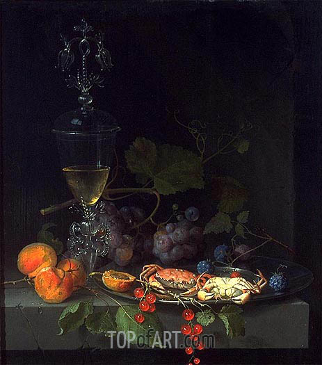 Still Life with Crabs on a Pewter Plate, c.1669/72   Abraham Mignon   Gemälde Reproduktion