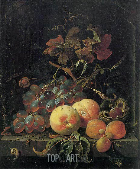 Fruit Still Life with Peaches, Grapes and Apricots, undated | Abraham Mignon | Painting Reproduction