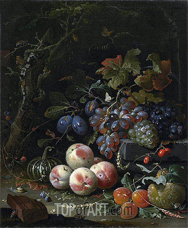 Still Life with Fruits, Foliage and Insects, c.1669 | Abraham Mignon | Painting Reproduction
