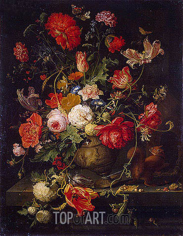 Vase of Flowers, b.1797 | Abraham Mignon | Painting Reproduction