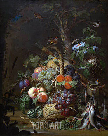 Still Life with Fruit, Fish and a Nest, c.1675 | Abraham Mignon | Painting Reproduction