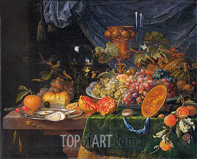 Still Life with Fruit and Oysters, c.1660/79 | Abraham Mignon | Painting Reproduction